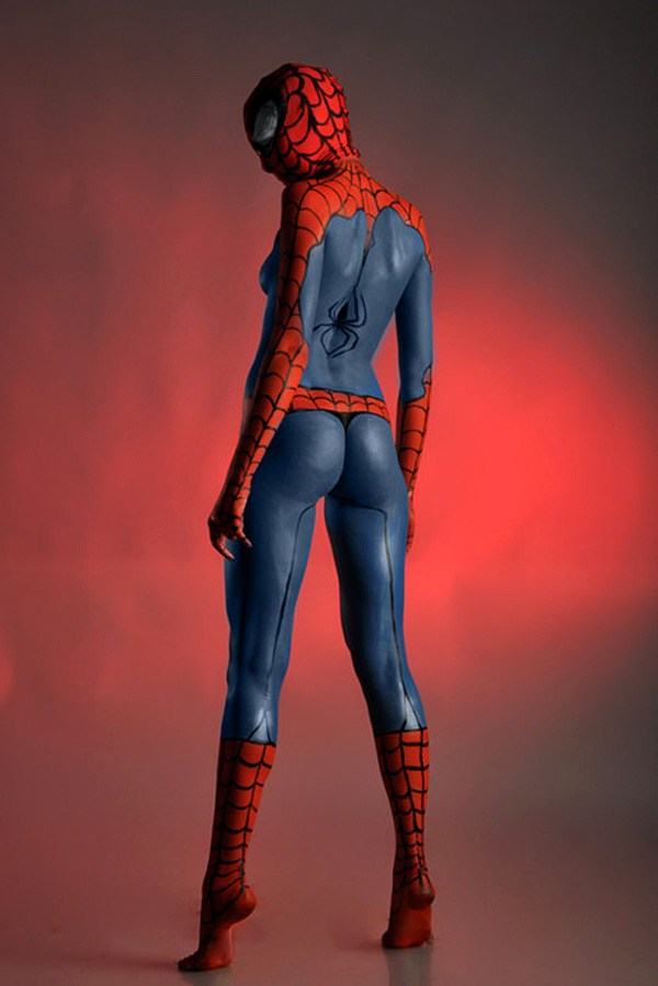 Lady Spider-Man Body Paint Cosplay; Party Uniform