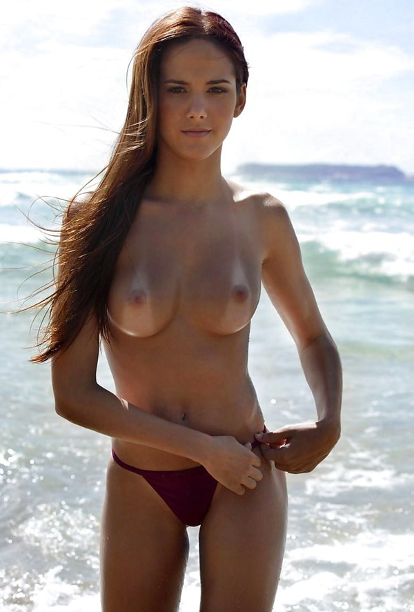 hot tanned women topless at beach