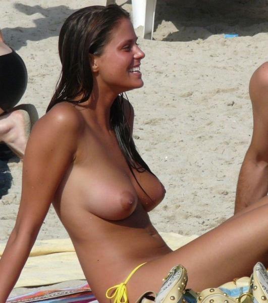 Topless amateur beach