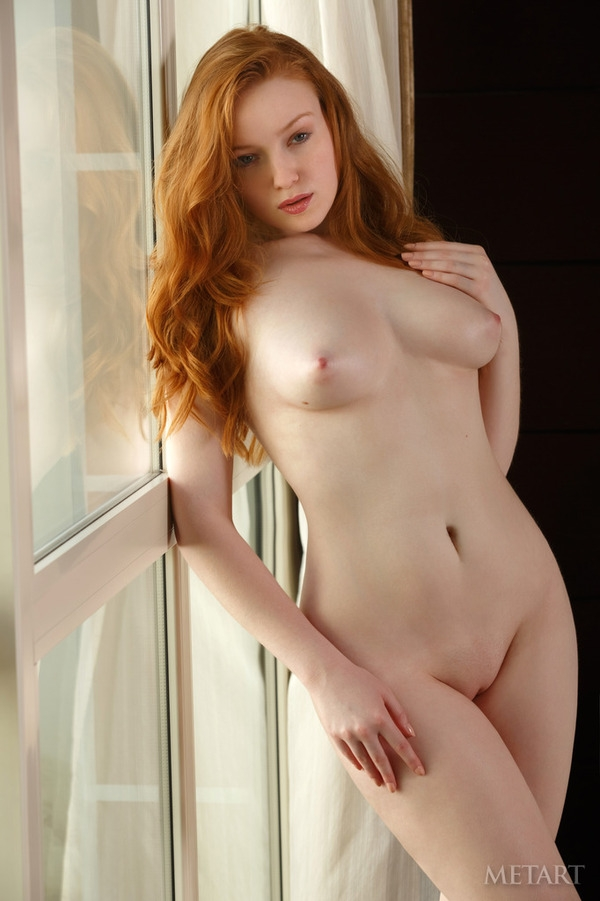 Window; Babe Big Tits Red Head