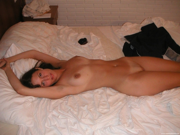 Cutie in bed.; Amateur Brunette